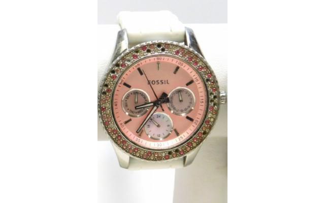 Lot #79 Fossil Women's Icy Bezel Designer Pink Face Watch - 1/3