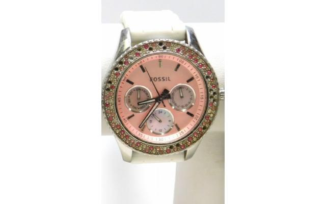Lot #79 Fossil Women's Icy Bezel Designer Pink Face Watch - 2/3