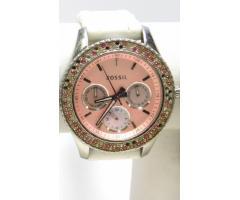 Lot #79 Fossil Women's Icy Bezel Designer Pink Face Watch