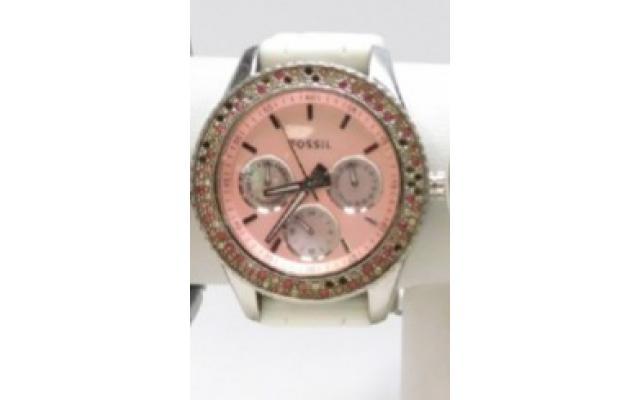 Lot #79 Fossil Women's Icy Bezel Designer Pink Face Watch - 3/3