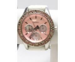 Lot #79 Fossil Women's Icy Bezel Designer Pink Face Watch - Image 3/3