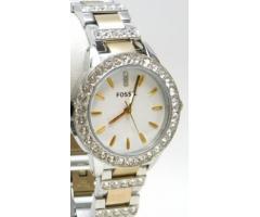 Lot #82 Fossil Women's Icy Bezel Designer Gold Trim Watch